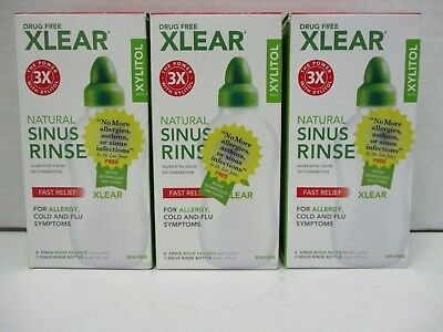3 Xlear Natural Sinus Rinse Fast Relief 1Bottle & 6 Pkts Each Exp 4/20+ De 20135
