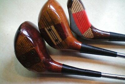 3 Vintage Wooden Headed Golf Clubs