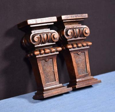 """*Pair of 6"""" French Antique Corbels/Pillars/Brackets in Walnut Wood Salvage"""