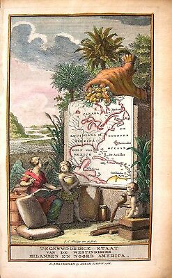Original Antique West Indies Map: On Atlas Frontispiece: Tirion: Amsterdam, 1768