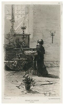 An Antique 19th Century Etching By Mose Bianchi & A. Cardart Paris