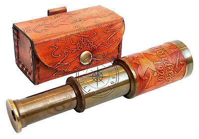 """6"""" Dollond London Antique Brass Telescope Nautical Pocket Gift With Leather Case"""