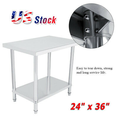 """24"""" x 36"""" Work Table Food Prep Stainless Steel Commercial Kitchen Restaurant New"""