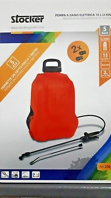Pompa elettropompa a zaino Stocker 15 lt. 1>5 bar con due batterie al litio