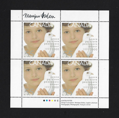"Canada — Full Pane — Millennium Issue — Child & Dove of Peace #1813 ""SIGNED"" MNH"