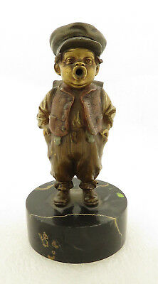 Antique Signed European Bronze of School Boy on Marble Stand.