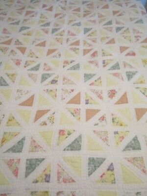 """Vintage Patchwork Squares Quilt 86 X 82"""" Pinks, Whites, Yellows Handmade"""
