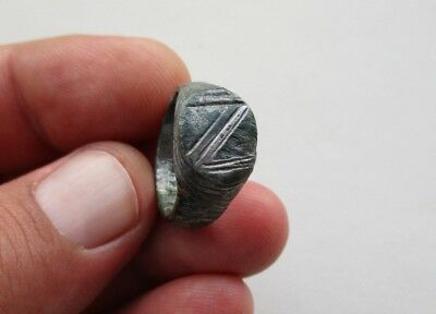 ancient late Byzantine Medieval bronze-silvered carved ring, circa XII century