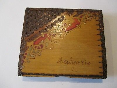 Vintage Wood Cigarette Box/Case Marked Bulgarie Nicely Decorated 3.5 X 3""