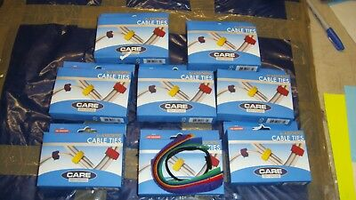 Job Lot Of 8 Boxes Of Coloured Cable Ties In Velcro Brand New