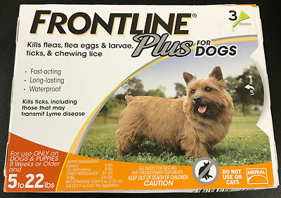 Frontline Plus for DOGS 5-22lbs ORANGE 3 Doses Pack #7001