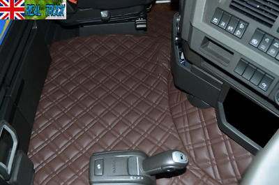 Truck Eco Leather Floor Mats Set Fit Volvo Fh 4 2013+ [ Twin Air Seats ] -Brown
