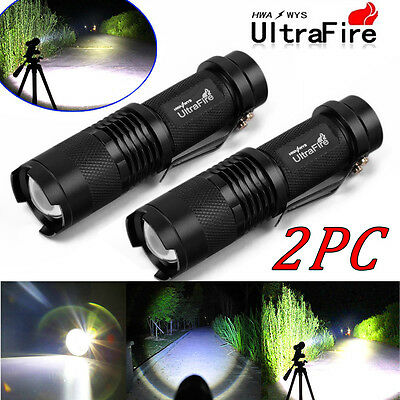 2x Portable Flashlight Ultrafire 20000LM T6 LED Rechargeable Torch Super Bright