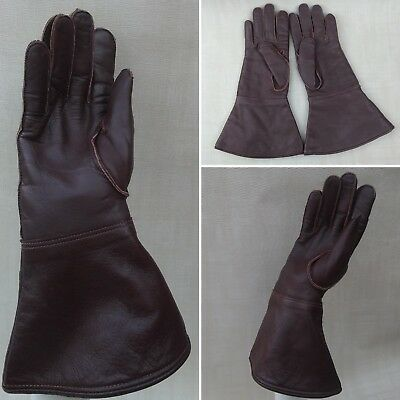 Vintage Brown Leather Gauntlet Driving Motorcycle 1940s 1950s Reenactment Size 8