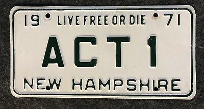 1971 New Hampshire Vanity License Plate ACT1 NH 71 Actor Actress Acting