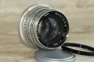 """JUPITER-8 50mm f2 M39 Lens RF made in USSR LEICA red """"P"""" +gift adapter m39 /m42"""