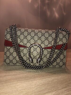 5877c3ab4176bc 100% AUTHENTIC GUCCI Dionysus Small Red Suede & Canvas Shoulder Bag ...