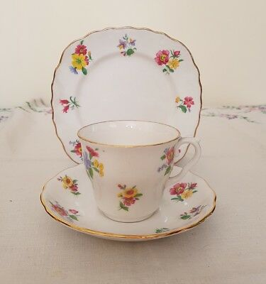 Vintage Royal Vale blue red yellow flower china teacup & saucer plate trio -d