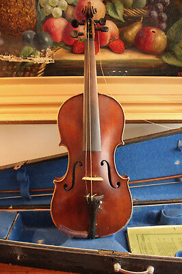 A Good Antique c19th 4/4 Copy Stradivarius in Coffin Case