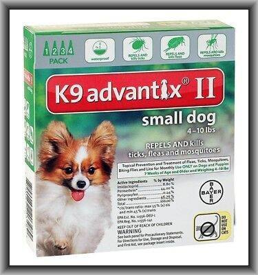 Bayer K9 Advantix II Flea & Tick Treatment for Small Dogs 4-10 lbs 4 Months
