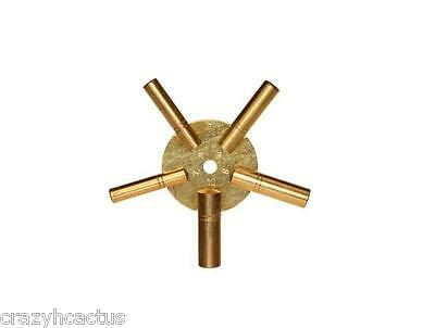 Clock Winder Winding Key BRASS Even Numbers Universal NEW Mantle clock 5 Prong