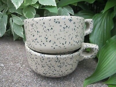 """2 Western SToneware Green Speckled Soup Mugs 2.5x4.5""""  with Handle"""