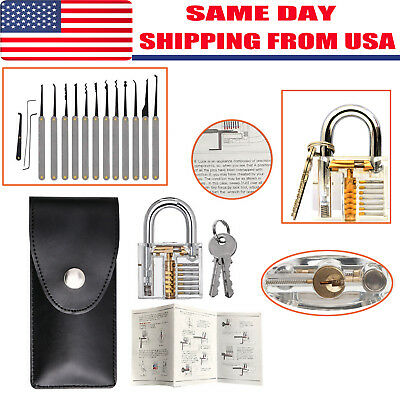12 PCS Unlocking Lock Pick Set Key Extractor Tool Transparent Practice Padlocks