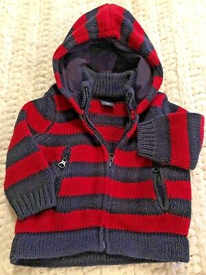 Baby Gap Chunky Knit Cozy Sweater Sz 3-6 months, Navy/Red Stripe Zip Up & Hooded