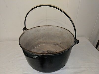 "Large Antique Cast Iron Cauldron Gypsy Pot, 13"" Wide 7"" Tall Enamel Inside"
