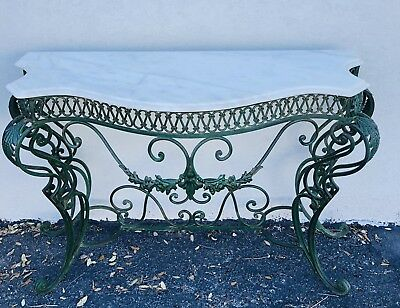 Antique French Wrought Iron Marble Top Entry Way Console Table~late 19th Century