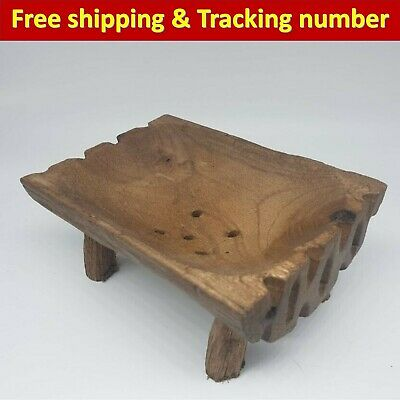 Antique Wooden Bowl Vintage Teak Wood Primitive Rustic Decor Collectible