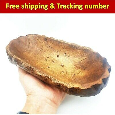 Hand Carved Wood Teak Wooden Bowl Box Natural Fruit Ice Cream Soap Dish Vintage