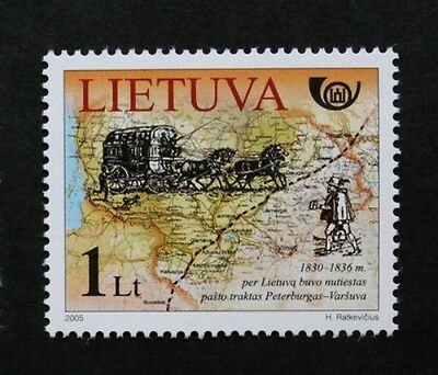Postal history stamp, 2005, mail coach, map, Lithuania, SG ref: 869, MNH