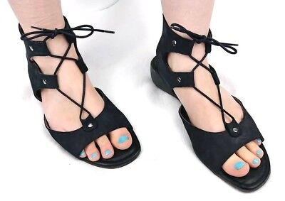 43b460f4212b The Flexx Women s Black Leather Gladiator Style Lace Up Sandals Size 8