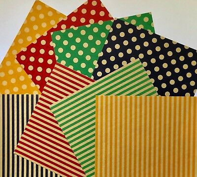 Polka Dots Stripe JAPANESE 80 pcs Double Sided ORIGAMI CHIYOGAMI PAPER 15x15cm