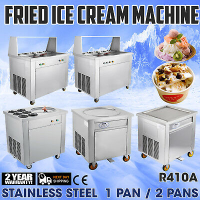 Commercial Fried Ice Cream Machine Stainless Steel W/ Control Pedal Double Pots