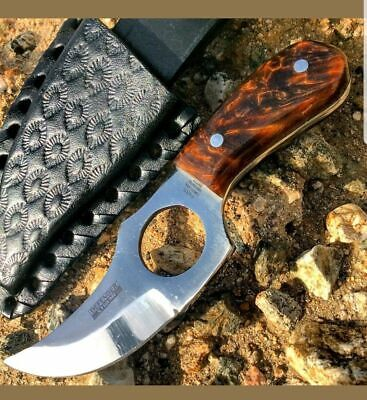 """5.5"""" HAND MADE FIXED BLADE GUT HOOK SKINNING KNIFE Game Hunting Bowie Skinner"""