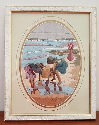 Retro CHILDREN COLLECTING COCKLES AT BEACH Framed COMPLETED Long Stitch Picture