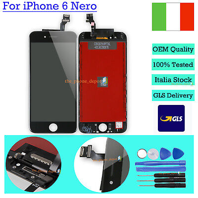 Per Apple Iphone 6 Touch Screen Lcd Display Vetro Schermo + Frame Nero Black