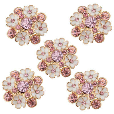 5pcs Flower Rhinestone Alloy Shank Buttons DIY Crafts Sewing Decoration 23mm
