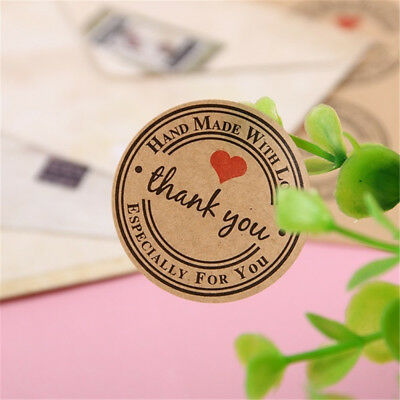 500PCS/set Round Kraft Paper Thank You Stickers Sealing Labels Wrapping Supplies