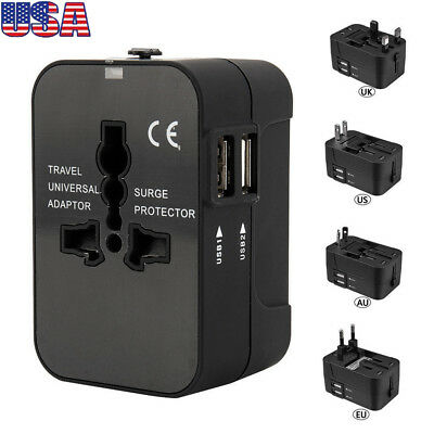 Universal Adapter Wall Charger AU UK US EU AC Power Plug Converter 2 USB