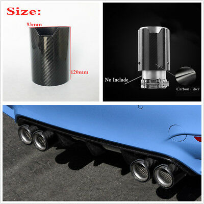 New 93*120mm Glossy Car Exhaust Muffler Pipe Tip Cover Carbon Fiber Case For BMW