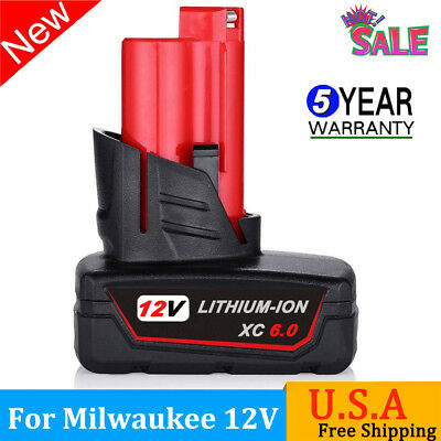 For Milwaukee 48-11-2460 M12 12-Volt 6.0 Amp Lithium-Ion Cordless Battery Pack
