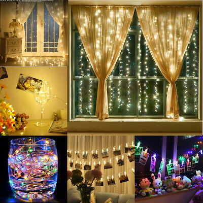 LED String Fairy Curtain Lights Garden Indoor / Outdoor Party Wedding Warm White