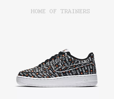 cheap for discount ff6b7 286f7 Nike Air Force 1 Just Do It Premium Noir Blanc Orange Enfants Garçons Filles
