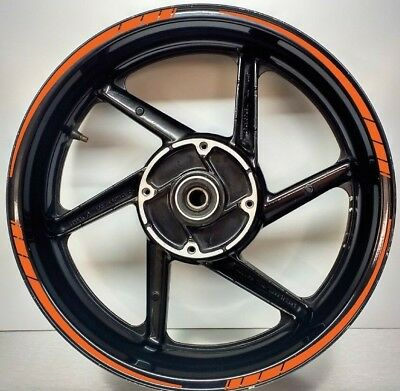 Tapered Motorcycle Wheel Rim ORANGE Tape stickers decal 10mm width 003
