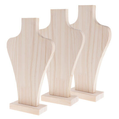 3pcs Free-Standing Wood Bust Rack for Necklace Pendant Display Stand Holder