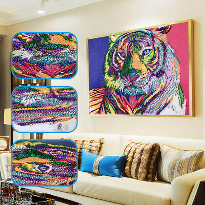 Colorful Tiger 5D DIY Special Shaped Diamond Painting Crystal Embroidery Kit