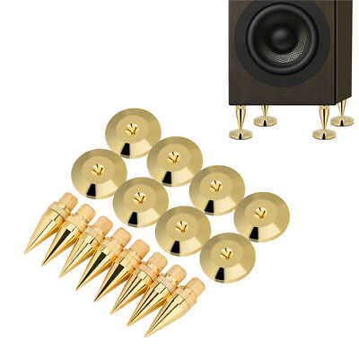 8X Speaker Cone Copper Spike Isolation Stand Feet + 8X Base Pads Floor Discs Mat